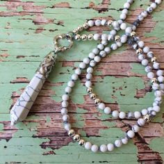 Hand knotted Boho style necklace   white by Rubybluejewels on Etsy