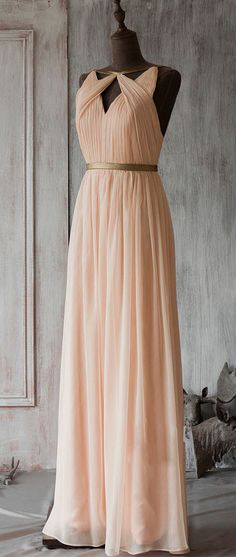 simple pink chiffon long prom dress, bridesmaid dress, wedding party dress