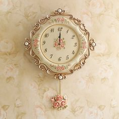 Replica of a shabby vintage, hand painted, wall clock! Would be so pretty, in the perfect setting~❥