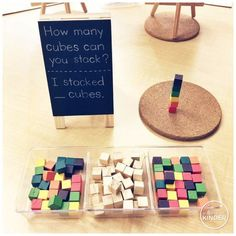 Weekly Round-Up: December 31 - A Pinch of Kinder: How Many Cubes Can You Stack? – Number Sense Center for Kindergarten - Math Classroom, Kindergarten Activities, Stem Activities, Fun Math, Teaching Math, Preschool Activities, Maths Eyfs, Math Games, Number Sense Kindergarten