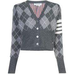 Thom Browne argyle cardigan (£1,130) ❤ liked on Polyvore featuring tops, cardigans, grey, crop top, striped cardigan, grey cardigans, long sleeve cardigan and v-neck cardigan