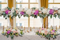 Pink and White Hydrangea and Roses Wedding Centerpieces