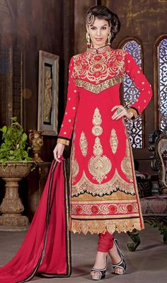 Let your charm unfold like the petals of a rose as you enter draped in this pink color embroidered georgette full sleeves churidar suit. The ethnic resham work to the attire adds a sign of splendor statement with your look. #SexyDesignOfHighNeckCollaredSuit