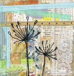 Mixed media textiles using vintage and recycled fabric with free embroidery stitching.... www.rcart.co.uk