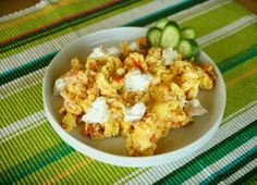 Scrambled Eggs with Bacon, Tomato and Goat Cheese