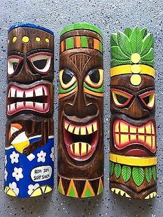 "SET OF 3 20"" TIKI MASK HAWAIIAN WALL ART ISLAND HOME DECOR TRIBAL BAR TROPICAL"