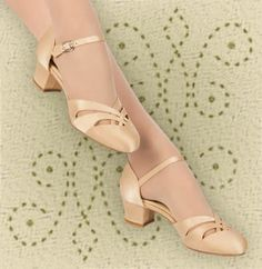 1920s $60.  Exact replica of a Jazz Age D'Orsay Dance Sandals in grosgrain tan fabric (nude to elongate your legs) w/  short, chunky Military heels that were common in Jazz Age shoes, flexible suede-bottom soles & heels w/ soft foam footbed perfect for dancers or women who want comfort!  Hell about 1-5/8-in high.