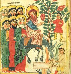 Christ's entry into Jerusalem (14th-century Armenian manuscript by Tserun ...