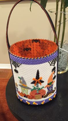 Halloween bucket in needlepoint, designer unknown
