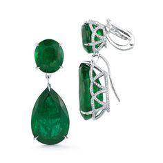Stunning Emerald Pear and Round Shape Earring | From a unique collection of vintage dangle earrings at https://www.1stdibs.com/jewelry/earrings/dangle-earrings/