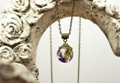 Washer Necklace, Pendant Necklace, Bronze, Kugel, Etsy, Jewelry, Real Flowers, Crystals, Neck Chain