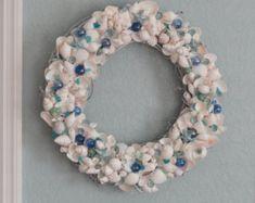 Seashell wreath, coastal decor, beach decor, coastal wall decor, blue and white shell wreath, summer decor,beach house decor