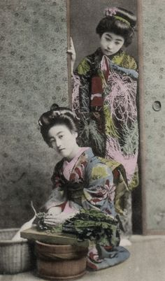 Portrait of two young ladies.  Hand-colored photo, about 1900, Japan.  Photographer unknown