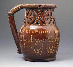 Antique English slipware earthenware puzzle jug dated 1817