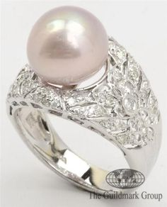 Excellent 14K White Gold Diamond & Pearl Open Cluster Ring & Earring Set Estimated Retail $4,100 - 1.18 cttw - 13.6 Grams