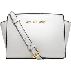 MICHAEL Michael Kors Selma Mini Leather Messenger Bag , White (€165) ❤ liked on Polyvore featuring bags, messenger bags, white, satchel messenger bag, leather satchel, mini satchel handbags, mini satchel and leather courier bag