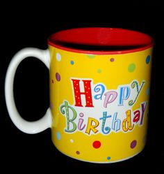 Coffee Mug Happy Birthday Colorful Design Burton Stoneware Tea Cup 12 Oz 350 ml #Burton