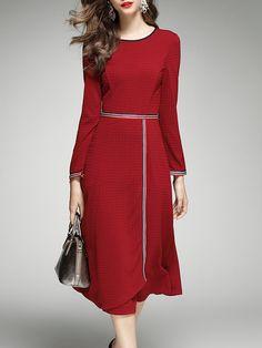 Shop Midi Dresses - Red Simple Crew Neck Paneled A-line Midi Dress online. Discover unique designers fashion at StyleWe.com.