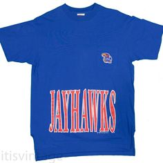 4c152c728 Vintage 1980's Jayhawks T-Shirt XL Embroidered KU Patch Made USA