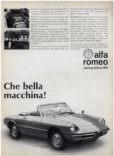 1968 Alfa Romeo Duetto Spider ad (courtesy of Cartype.com). Note that Alfa's US HQ was in Newark, NJ.