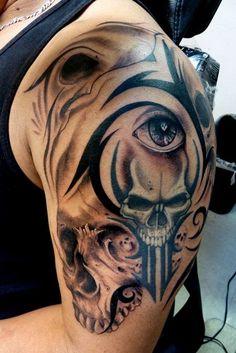 Tribal Tattoos For Guys Skulls
