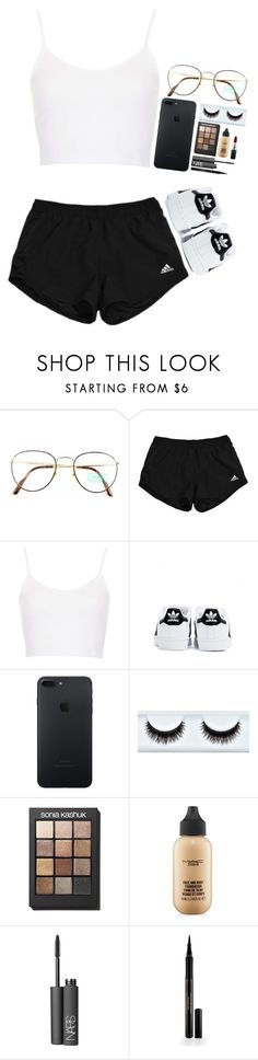 """""""Chill Day"""" by destiniet ❤ liked on Polyvore featuring Benetton, Topshop, adidas, Sonia Kashuk, MAC Cosmetics, NARS Cosmetics and Elizabeth Arden"""