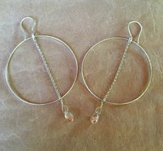 Large Sterling Dangle Hoops by ZammaDesigns on Etsy