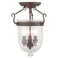 Livex Lighting 5081 Jefferson 3 Light Semi-Flush Ceiling Fixture Imperial Bronze Indoor Lighting Ceiling Fixtures Semi-Flush