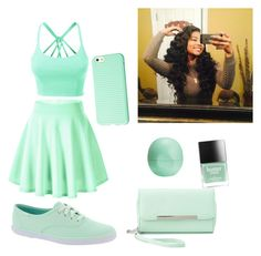 """""""Mint green every thing"""" by csmith98 ❤ liked on Polyvore featuring LE3NO, Eos, Keds, Butter London and Charlotte Russe"""