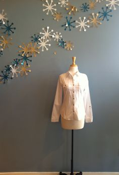 Long Sleeve Woven White Blouse by BLVD $42.00