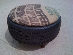 Used burlap and tire ottoman