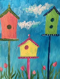 Great painting for kids, acrylic on canvas, birdhouses, spring painting cla Acrylic Painting For Kids, Easy Canvas Painting, Summer Painting, Simple Acrylic Paintings, Canvas Paintings For Kids, Kids Painting Class, Great Paintings, Spring Drawing, Spring Art