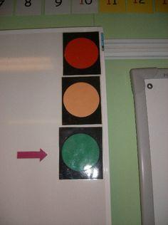 Als het verkeerslicht op groen staat, dan mogen de leerlingen vragen stellen aan de leerkracht. Staat het licht op rood, dan is de leerkracht aan het woord.