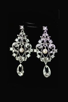 Caitlin wedding chandelier bridal earrings by simplychic93 on Etsy, $42.00