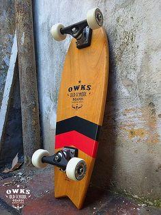 TaKen Longboard - Fallen Leaves Old School Skateboards, Cruiser Skateboards, Custom Skateboards, Vintage Skateboards, Longboard Decks, Longboard Design, Cruiser Boards, Skate Style, Balance Board