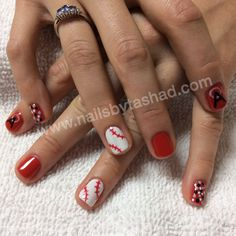 www.nailsbytashad.com  Instagram: nailsbytashad  #nailart #nailtrends #gelmanicure Los Angeles angels of Anaheim inspired gel manicure mlb baseball nail art