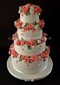 - Coral & White Sugar Roses Wedding Cake - PJ x