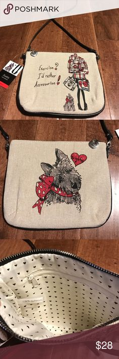 """Brighton Crossbody NWT NWT Brighton canvas crossbody, detachable strap. Canvas has a slight silver sparkle. Cute could be used for many purposes and travel. Bag is 9 1/2"""" w x 8"""" h, strap drop appx 23"""". Brighton Bags Crossbody Bags"""