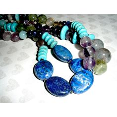CHUNKY LONG GEMSTONE Necklace, Chunky Gemstone Handcrafted Beaded... ($66) ❤ liked on Polyvore featuring jewelry, necklaces, long silver necklace, gemstone necklaces, boho necklace, swarovski crystal necklace and beaded necklaces