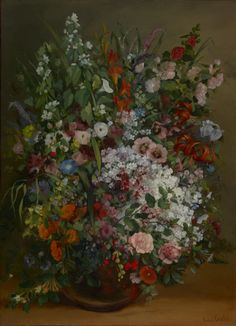Gustave Courbet Bouquet of Flowers in a Vase art painting for sale; Shop your favorite Gustave Courbet Bouquet of Flowers in a Vase painting on canvas or frame at discount price. Art Floral, Google Art Project, Flower Vases, Flower Art, Life Flower, Art Flowers, Spring Flowers, Gustave Courbet, French Paintings