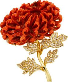 Carved Coral, Diamond, Gold Brooch.
