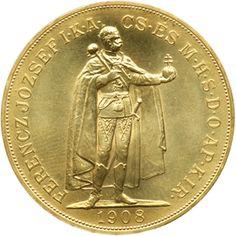 Moneda de oro 100 Coronas Hungria 1908  anverso. Foreign Coins, Gold And Silver Coins, World Coins, Coin Collecting, Types Of Metal, Bronze, Gold Coins, Wealth, Silver Coins