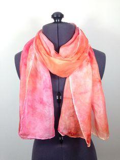 Coral Pink Silk Scarf  Hand Painted Silk by NicolaDavisCrafts