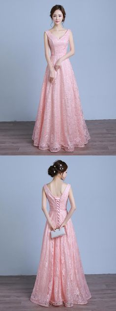 Long Prom Dresses Pink, Lace Prom Dresses For Teens Cheap, A-line Prom Dresses V-neck, Modest Formal Prom Dresses For Girls