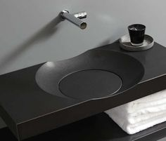 Stylish Modern Round Sink With No Drain. The Bowl sink by Giquardo. Contemporary Bathroom Sinks, Modern Bathroom Light Fixtures, Small Bathroom Interior, New Bathroom Designs, Modern Sink, Bathroom Design Luxury, Bathroom Fixtures, Unusual Bathrooms, Beautiful Small Bathrooms