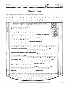 Theater Time (Art and Drama Vocabulary) Teaching Theatre, Vocabulary Practice, Drama Class, Art Worksheets, Time Art, Guided Reading, Kids Playing, Lesson Plans, Middle School