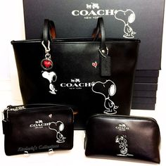 COACH X Peanuts SNOOPY Tote Bag, Cosmetic Case, Wristlet & Key Chain 4pc Set NWT #Coach