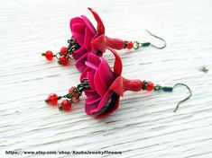 Bride Earrings Fuchsia, Red Flowers polymer clay fashion jewelry Flowers romantic Jewelry prom Earrings wedding, Long earrings magenta Polymer clay fuchsia flower jewelry