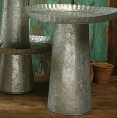 Simply Southern Wedding Guide - Rustic Tin Cake Stands (Set of 2), $12.00 (http://www.simplysouthernwedding.com/reception/rustic-tin-cake-stands-set-of-2/)