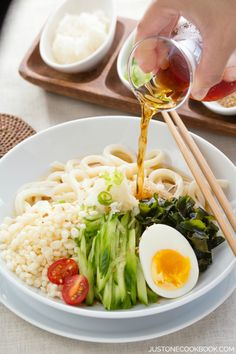 Cold Tanuki Udon 冷やしたぬきうどん | Easy Japanese Recipes at JustOneCookbook.com - looks so good but what are these ingredients??